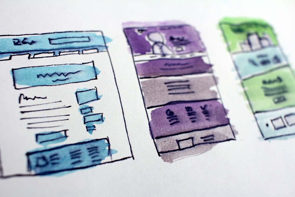Getekende voorbeelden van website designs